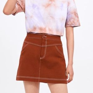 Zara Clay Seamed Mini Skirt